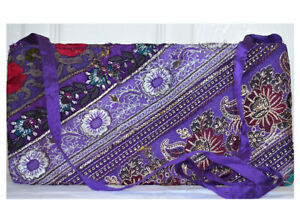 Purple Color Hand Embroidered Borders Shoulder Cross Body Bag Silk From India