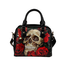 Skull with Flower Classic Cross Body Shoulder Handbag Purse for Women And Girls