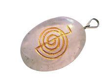 Ovaler Bergkristall Anhänger mit Choku Reiki Symbol