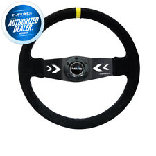 13.78 inches NRG Steering Wheel 16 Deep Dish Part # ST-016S-BK - Black Suede with Black Spokes//Blue Double Center Markings - 350mm