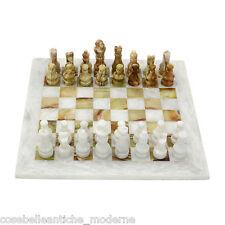 Scacchiera con Intarsi in Marmo Bianco e Onice Verde Marble Chess Set 20x20cm