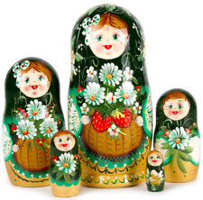 Russian Traditional Nesting Doll w/ Floral Pattern Hand Painted in Russia 5 pcs