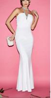 NEW QUIZ Pearl Halter Neck White Bardot Bridal Fishtail Maxi Dress 8-16