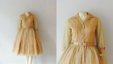Vintage Dress 50s New Look Gold & Peach Silk Chiffon and Satin  Deadstock XS/S