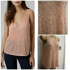 Ladies Ex Topshop Peach/Pink Silver Beaded Embellished Camisole Vest Top 6 -16