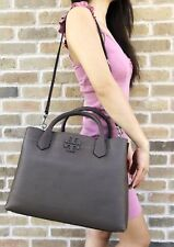 Tory Burch McGraw Leather Triple Compartment Satchel Silver Maple