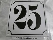 Hausnummer Mega Groß Emaille Nr. 25 schwarze Zahl weißer Hintergrund 20cmx20 cm