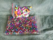 Neon Multi-color Large Hearts & Metallic Round Pony Beads kids crafts school ☆