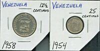 VENEZUELA - TWO BEAUTIFUL 1950's COINS, SILVER 25 CENTIMOS & 12 1/2 CENTIMOS