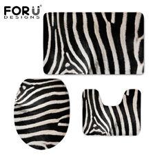 Black Zebra Stripes Print Toilet Seat Cover Set Soft Warmer Sink Rug Lid Cover 3