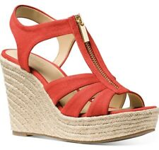 Size 8 US Michael Kors Berkley Dark Persimmon Canvas Wedge Sandal