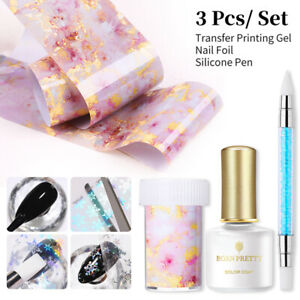 BORN PRETTY 3Pcs/set Nail Foils Stickers Decals Adhensive Transfer Foil Glue Kit