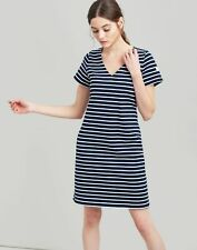 Joules Womens Riviera V Neck Jersey Dress - Navy Cream Stripe