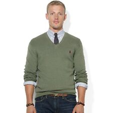 New Men's Ralph Lauren 100% Cotton V Neck Long Sleeve Jumper sweatshirt