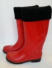 Women's COUGAR RED RUBBER RAIN BOOTS - Size 7