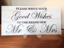 Wedding wishing tree guest book table sign GOOD WISHES shabby vintage gift