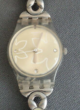 """2013 Swatch Watch Ladies Floral Flower Crystal Accents New Battery """"Just Pretty"""""""