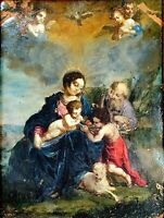 THE HOLY FAMILY AND SAINT JOHN CHILD. OIL ON COPPER. SPAIN. XVII-XVIII