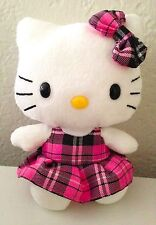 Ty Sanrio Hello Kitty Plush Stuffed Animal 6 in Pink Plaid Dress Bow Toy Girls