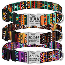 Nylon Personalised Dog Collar Custom Engraved Name Adjustable Pet Collars S M L