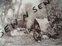 ANTIQUE VINTAGE OLD PHOTO POSTCARD with STAMPS ABORIGINAL HUMPY CAMP IN BUSH