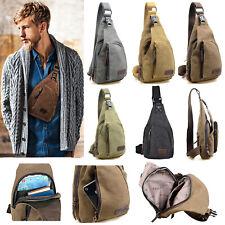 Men Canvas Zip Crossbody Sling Shoulder Bag Military Chest Pack Travel Hiking