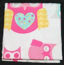 Circo Owl Fabric Shower Curtain girls bath decor pink aqua yellow 72x72 nwop