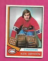 1974-75 OPC # 155 CANADIENS KEN DRYDEN  CREASED CARD  (INV# D3136)