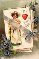Vintage Embossed Postcard Valentines My Heart's Gift 1908 International Art Co