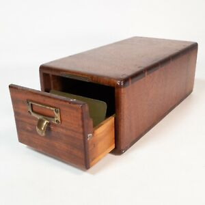 Antique Library Bureau Sole Makers 1 Drawer Oak Card Catalog Index File Cabinet