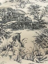 "Upholstery Fabric Toile Pattern Warren , People Print , Black  54"" By The Yard"