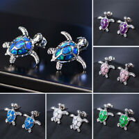 Novelty 925 Silver Cute Turtle Fire Opal Stone Ear Studs Earrings Jewelry Gift