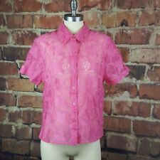 Alfred Dunner Womens Button Front Blouse Size 14P Pink Sheer Paisley Shirt