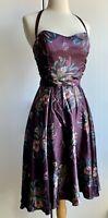 Betsey Johnson Floral Halter Silk Dress Size 6 Purple Small Medium Fit Flare