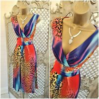 Quiz 💋UK 10 Sexy Bright Animal Print Stretch Fit & Flare Dress ~Free Postage~