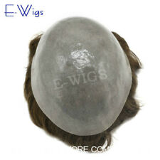 Full Poly Mens Toupee Thin Skin Hair System 10X8 Durable PU Human Hairpiece PAPY