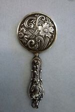Art Nouveau Hand Held Mirror Repousse - Sterling Silver - Antique