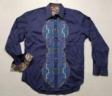 Robert Graham Flip Cuff Button Up Shirt Adult Extra Large Blue Abstract Mens