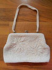 Old Vintage Voguemont Japan Ivory Beaded Purse Handbag Handle Rhinestones Floral