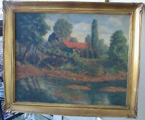 Price Reduction!!-Large California Oil-1930's-Sunlit Lake With Farm-By F Rash