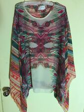 Native Feather Dream Catcher Print & Striped Kaftan Sleeve Oversized Poncho Top