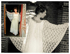 Stunning Vintage lace Wedding Dress 70's Boho Laced cape/Angelwing wedding dress