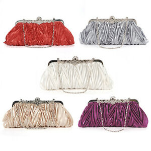 UK Satin Evening Prom Clutch Wedding Clutch Bag purse 16 Fast Delivery