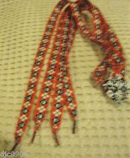 Premium Flat Red&White Diamonds Skull Crossbones Rockabilly Punk Shoelaces-New!