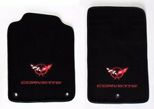NEW! FLOOR MATS 1998-2004 Corvette With Embroidered Circle Emblem Logo Red Set