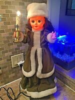 Vintage Brite-Amation GIRL Animated Christmas Motion Green Figure Candle Telco
