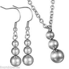 1 Set Boucles d'oreilles Clous+Collier Acier Inoxydable Perles Bijoux