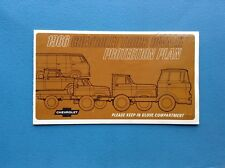 1966 CHEVROLET PROTECTION PLAN PROTECT O PLATE SERIES 10, 20 & 30 TRUCK
