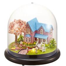 Mini glass DIY Wooden Dollhouse Miniature with LED Craft Gift New--Sakura Love