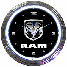 Ram Neon Clock sign heavy duty Truck head garage shop lamp light Chrysler Dodge